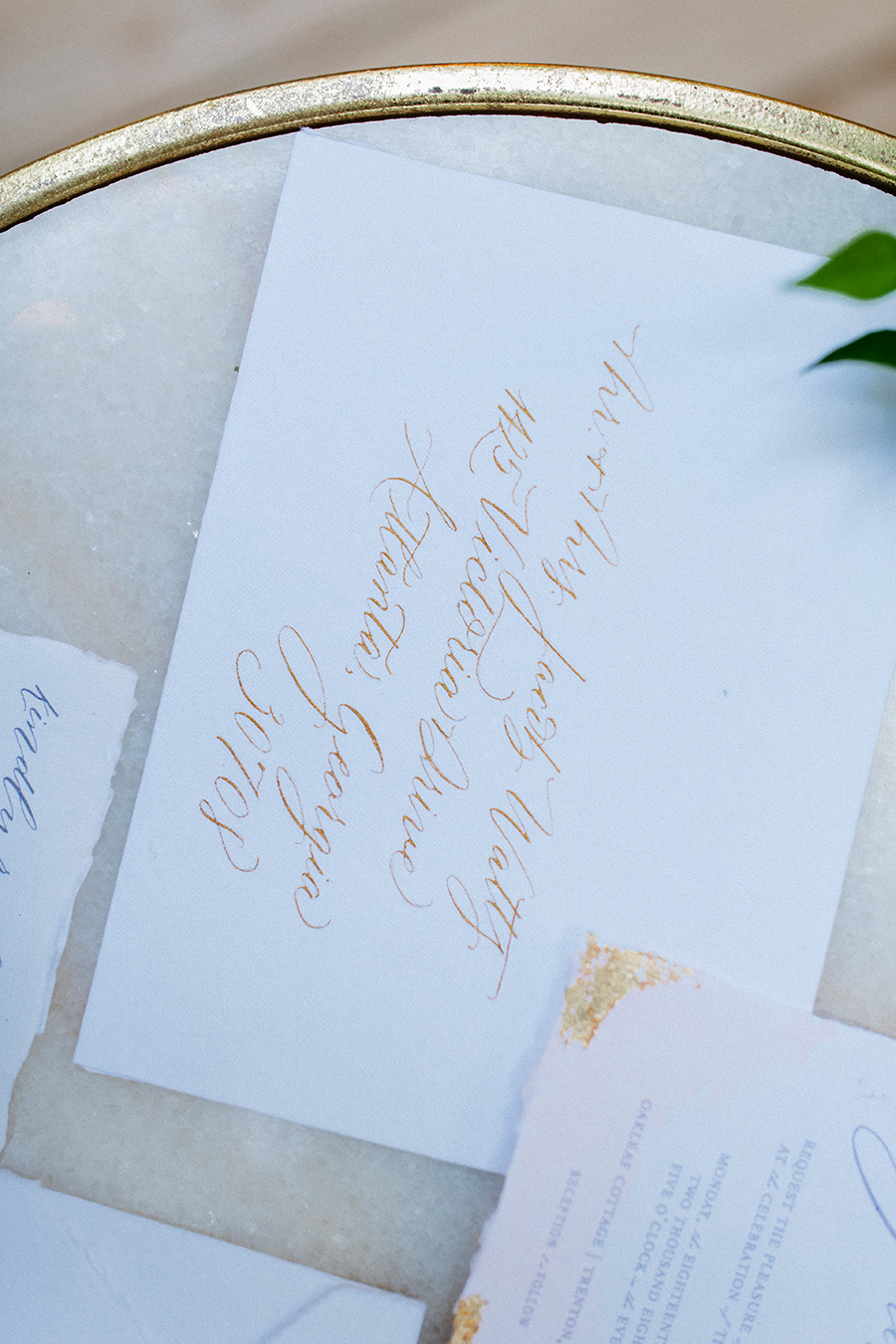 gold dipped watercolor wedding invitations 2