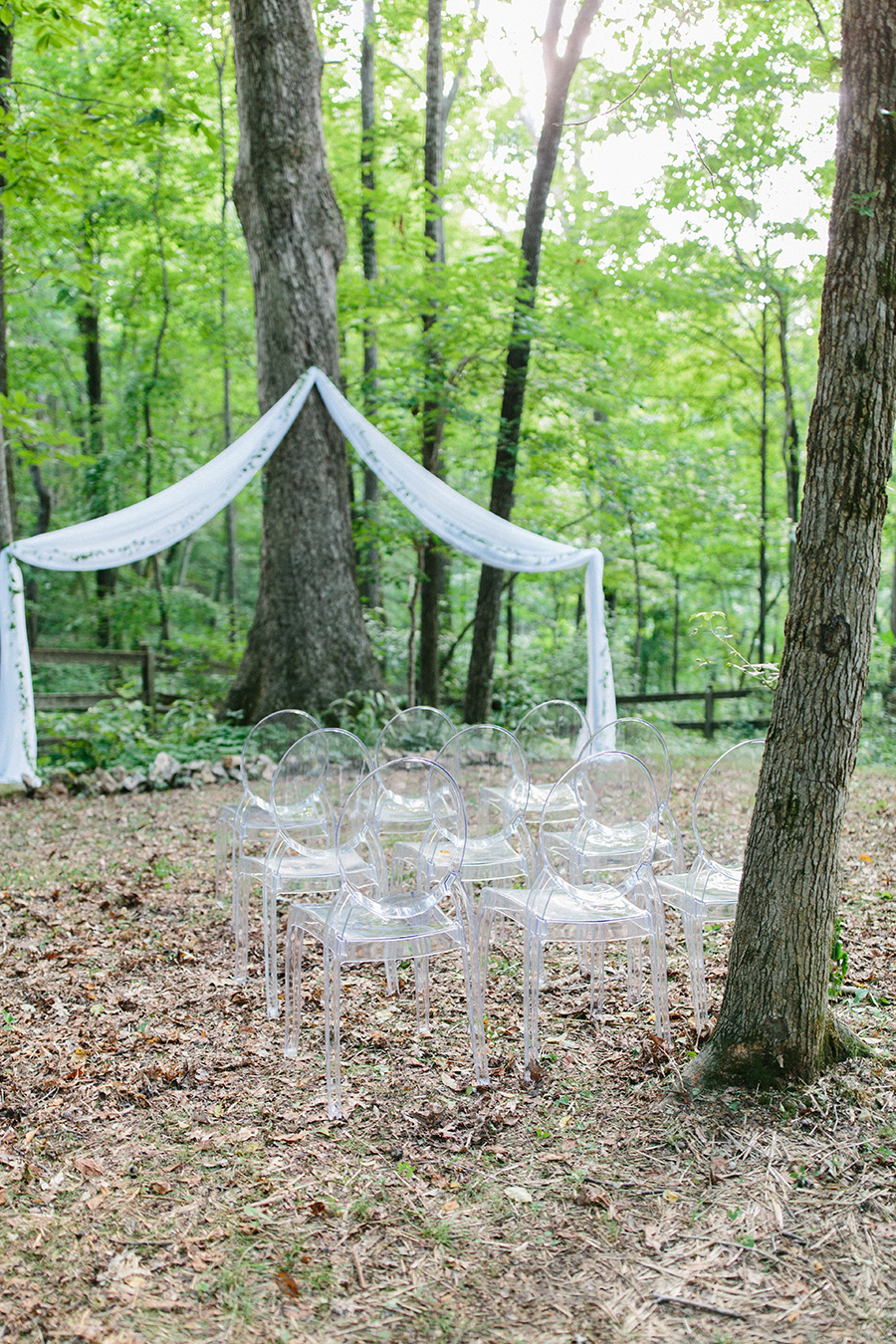 outdoor wedding tree ghost chairs